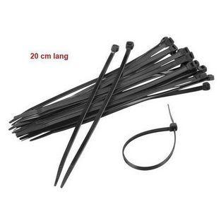 Universeel | kabelbinder 20cm zwart 100pcs