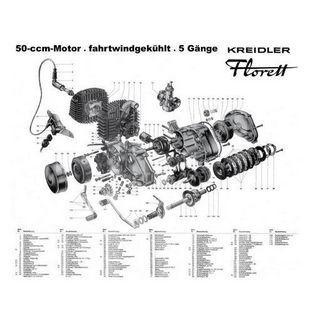 Kreidler   accessoire poster motorbitlok 50cc 5v kreidler 60x74cm in koker